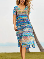 Bohemia Striped Print Cover Up Beach Dress