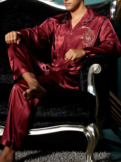 Comfortable Men's Silk Pajamas Set