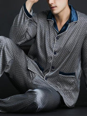 Gray Shirt Collar Polka Dots Casual Sleepwear & Loungewear