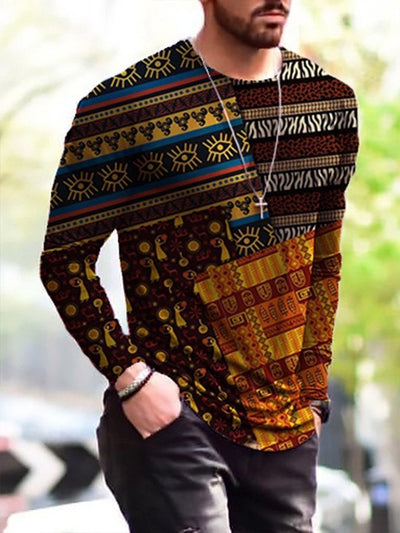 Men's Pattern Patchwork Print Long Sleeve T-shirt