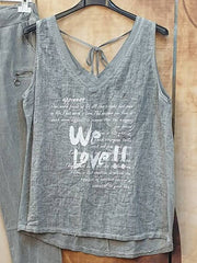 Gray Letter Sleeveless Spaghetti Casual Suits