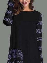 Black A-Line Long Sleeve Abstract Blouses