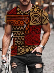 As Picture Tribal Casual Crew Neck Cotton Shirts & Tops