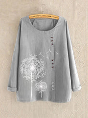 Round Neck Long Sleeve Holiday Cotton Shirts & Tops