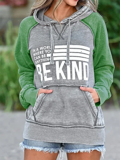 Green Printed Letter Long Sleeve Sweatshirt