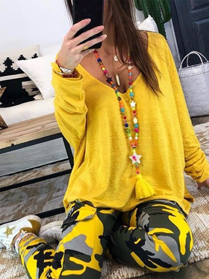 Yellow Long Sleeve Solid Shirts & Tops