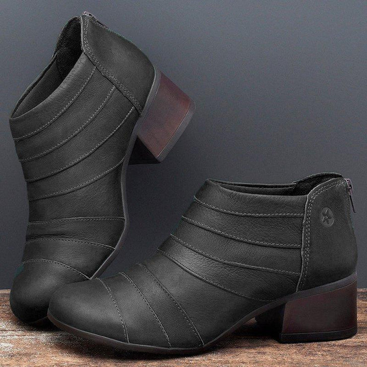 All Season Block Heel Faux Leather Boots