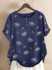 Blue Shift Floral Short Sleeve Shirts & Tops