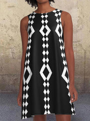 Black 1960's Geometric Pattern Pockets A-Line Retro Printed Casual Dresses