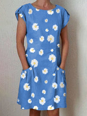 Gray Floral Daisy Round Neck Short Sleeve Pockets Casual Dresses