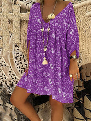 Boho Cotton-Blend Shift Buttoned Dresses