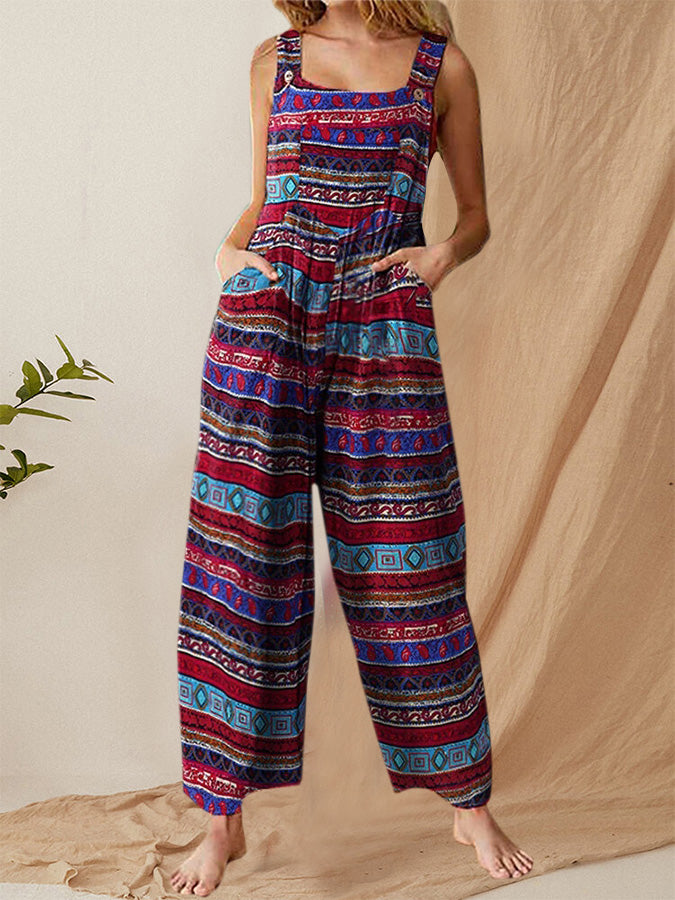 Sleeveless Print Side Pockets Vintage Jumpsuits For Women