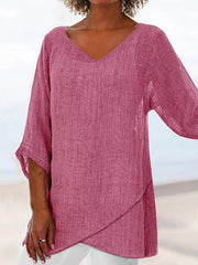 3/4 Sleeve V Neck Cotton Shirts & Tops