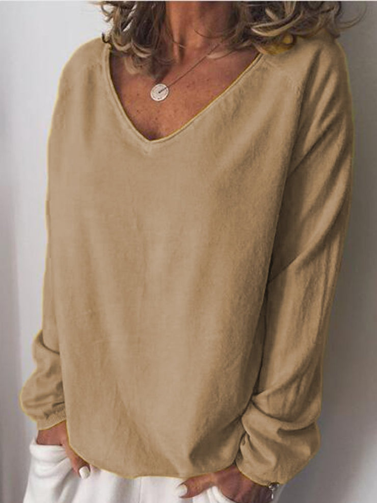 Cotton-Blend Long Sleeve V Neck Shirts & Tops