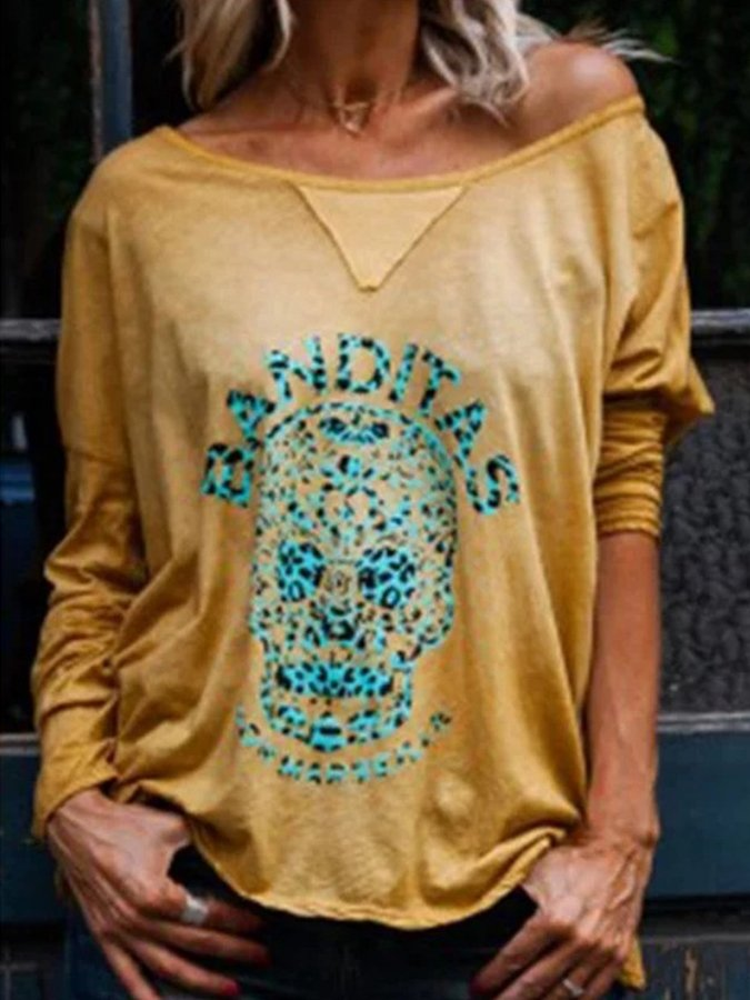 Autumn and Winter Skull Printed Long Sleeve V-neck Loose Leisure T-shirt