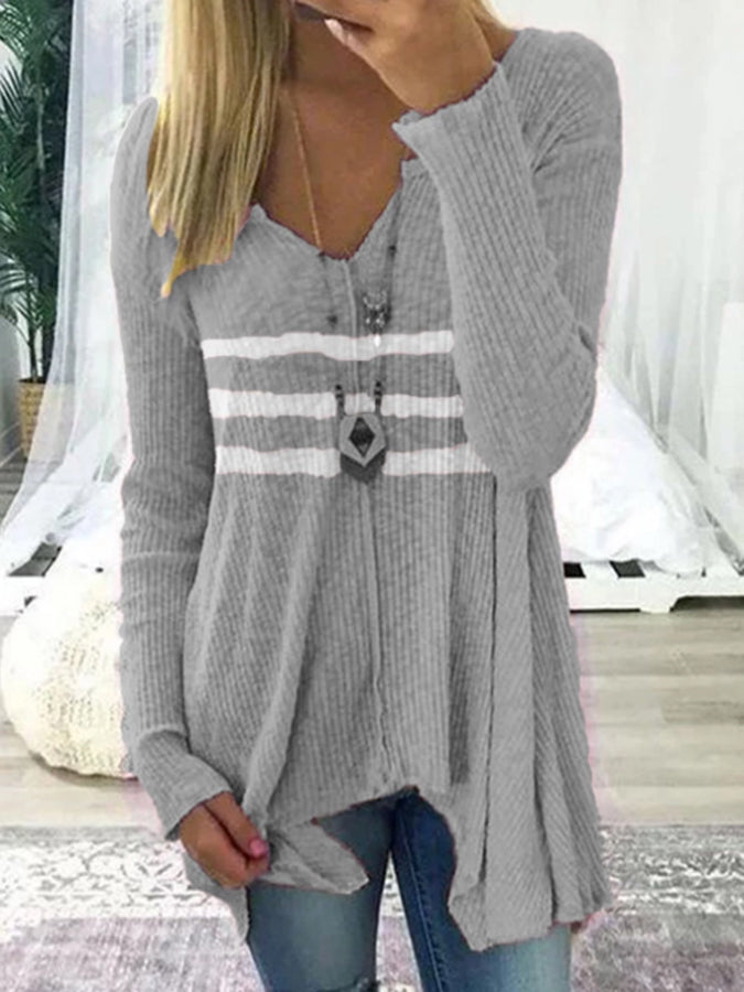 V Neck Stripes Long Sleeve Casual Shirts & Tops