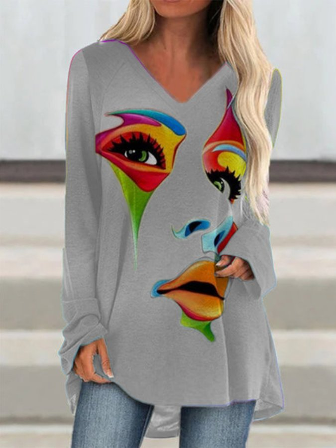 Seven Colors Casual Printed V Neck Shirts & Tops