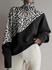 Women Casual Knitted Leopard Print Knitted Sweater