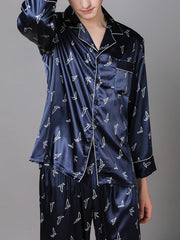 Printed Long Sleeve Ice Silk Pajama Set