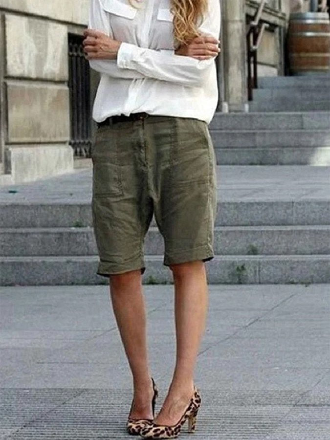Pockets Solid Casual Shorts Pants