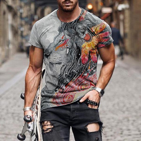 Men's Ethnic Style Ferocious Lion Print Casual T-shirt