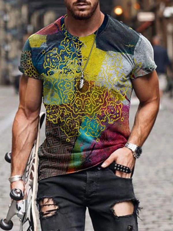 Casual Printed Short Sleeve Crew Neck Tops