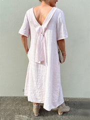 Pink Solid Shawl Collar Short Sleeve Dresses