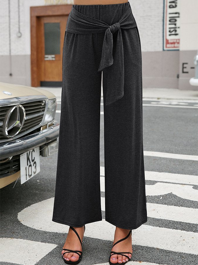 Knotted Wrap Pocket Wide-legged Causal Pants
