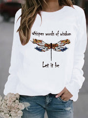 Cotton-Blend Casual Long Sleeve Printed Sweatshirt
