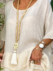 Beige Half Sleeve Cotton-Blend Crew Neck Ruffled Suits