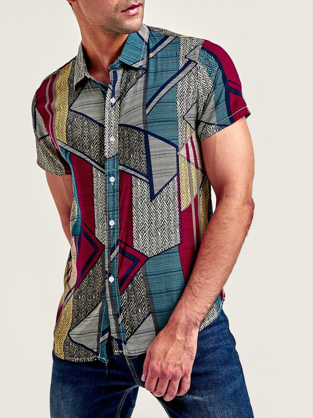 Casual Printed Shirt Collar Cotton Shirts & Tops