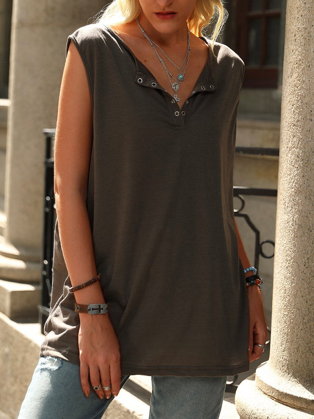 Khaki Club Beach Daily Casual Sleeveless Shift Vests