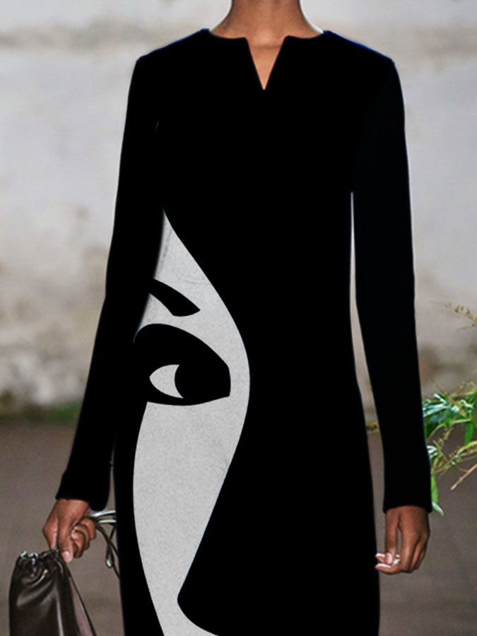 Black Abstract Casual V Neck Long Sleeve Dresses