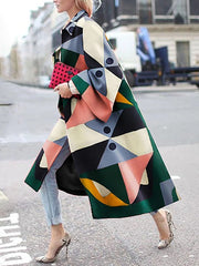 Long Sleeve Shift Geometric Shirt Collar Outerwear