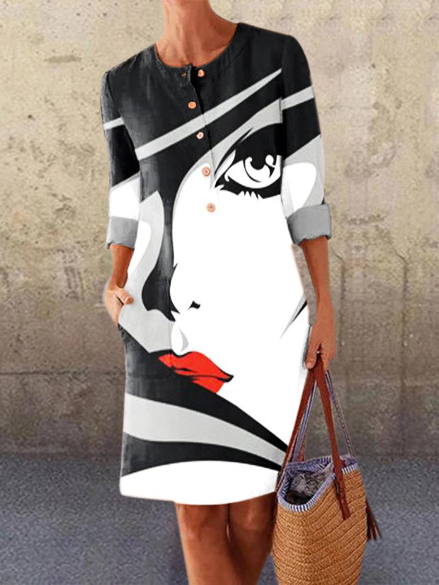 White-Black Long Sleeve Crew Neck Dresses