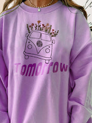 Purple Crew Neck Letter Casual Cotton Sweatshirt