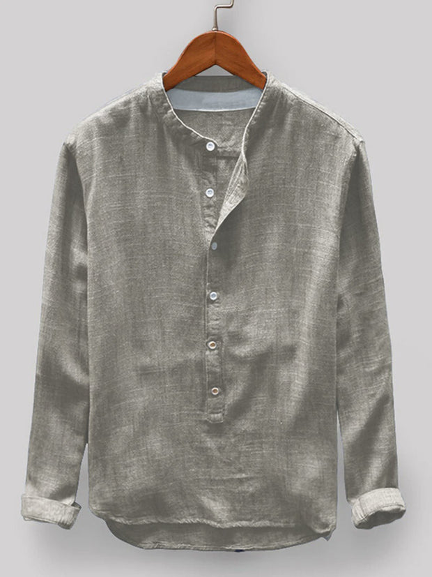 Men's Cotton Stand Collar Solid Shirts