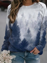 Casual Long Sleeve Print Christmas Sweatershirts