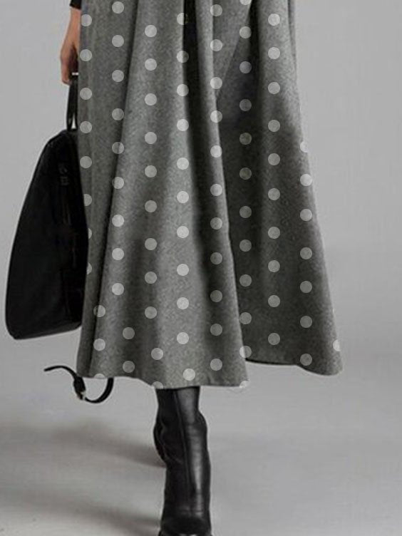 V Neck Swing Polka Dots Holiday Dresses