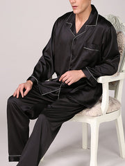 Men's Black Silk Long Sleeve Solid Color Suit