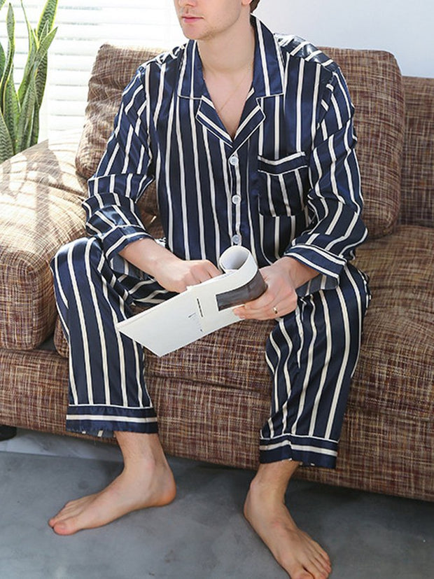 Men's Imitation Silk Stripe Home Service Suit