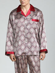 Men's imitation silk long-sleeved printed silk pajamas