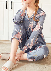 Long Sleeve Casual Satin Sleepwear & Loungewear