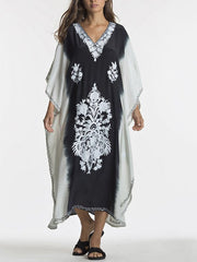 As Picture Batwing V Neck Tribal Dresses