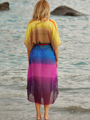 As Picture Batwing Ombre/tie-Dye V Neck Dresses