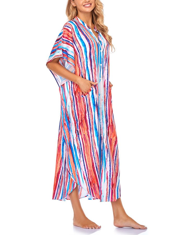 Photo Color Striped V Neck Holiday Dresses