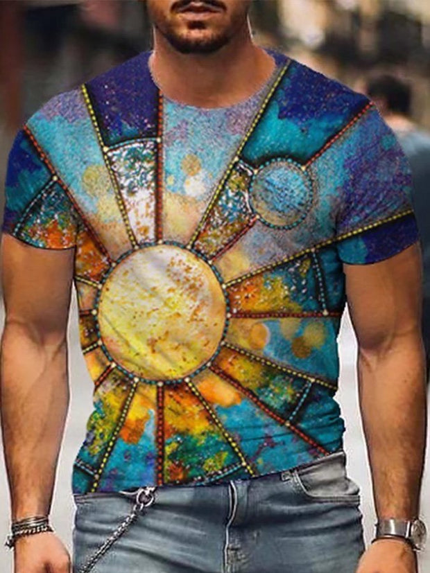 Men's Mysterious Sun Moon Print T-shirt