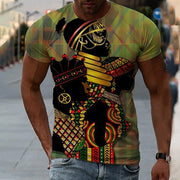 Green Tribal Crew Neck Statement Shirts & Tops