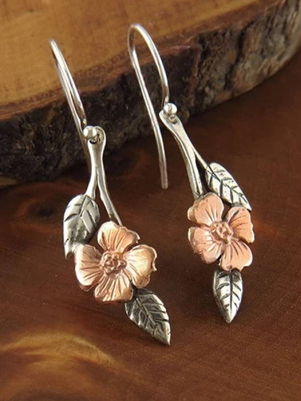Alloy Retro Floral Earrings