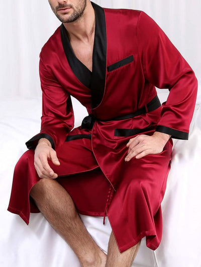 Red Casual Plain Silk Pyjamas sets